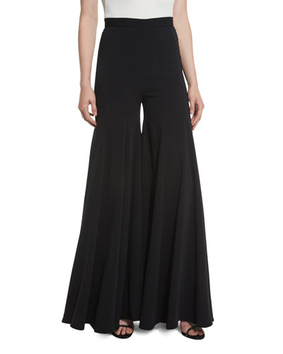 Super Flare High-Waist Wide-Leg Silk Pants, Black
