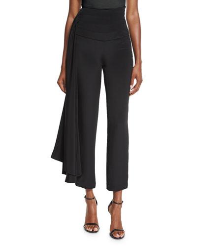 Cropped Side-Sash Pants, Black