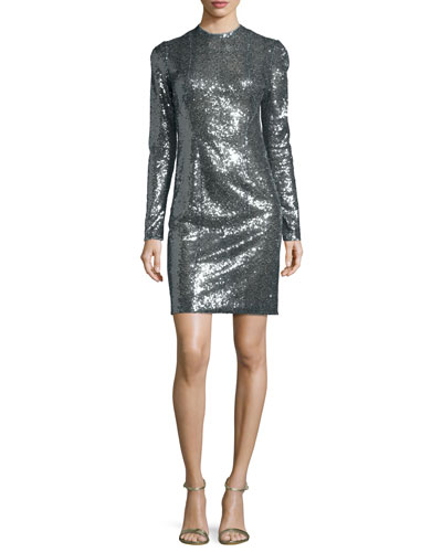 Sequined Long-Sleeve Mini Dress, Multicolor