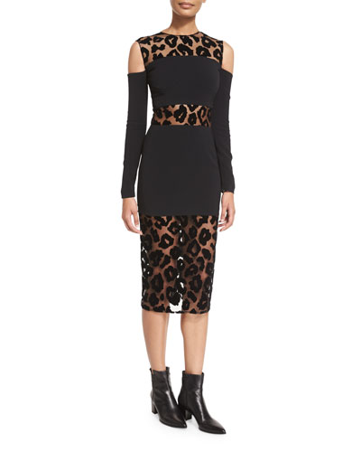 Leopard-Burnout Cold-Shoulder Dress, Black