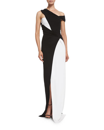 Colorblock Draped One-Shoulder Gown, Black/White