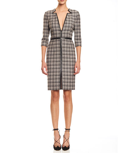Leather-Trim V-Neck Plaid Dress, Black/Pink/Gray