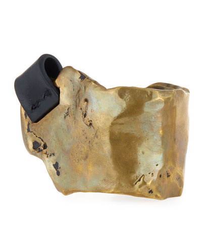Melted Brass Cuff Bracelet with Leather Tab, Vintage Gold/Black