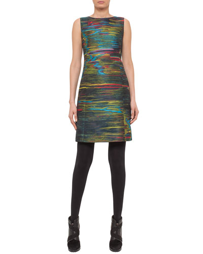 Jacquard Sleeveless Sheath Dress, Northern Lights