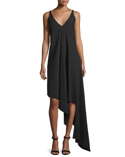 Sleeveless Asymmetric Stretch-Cady Dress, Black