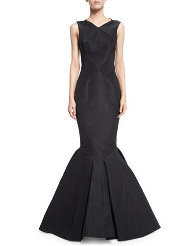 Sleeveless Open-Back Silk Faille Trumpet Gown, Black