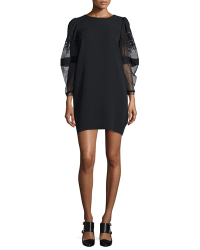 Sheer-Sleeve T-Shirt Dress, Black