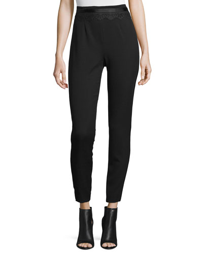 Cummerbund Slim-Leg Pants, Black