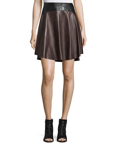 Bicolor Arch-Seam Leather Skirt, Aubergine/Black