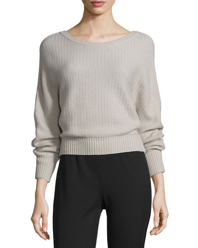 Cashmere Ribbed Boat-Neck Sweater, Camel