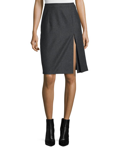Front-Slit Pleated Skirt, Charcoal
