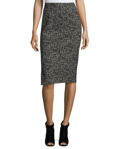 Tweed Pencil Skirt, Black/White
