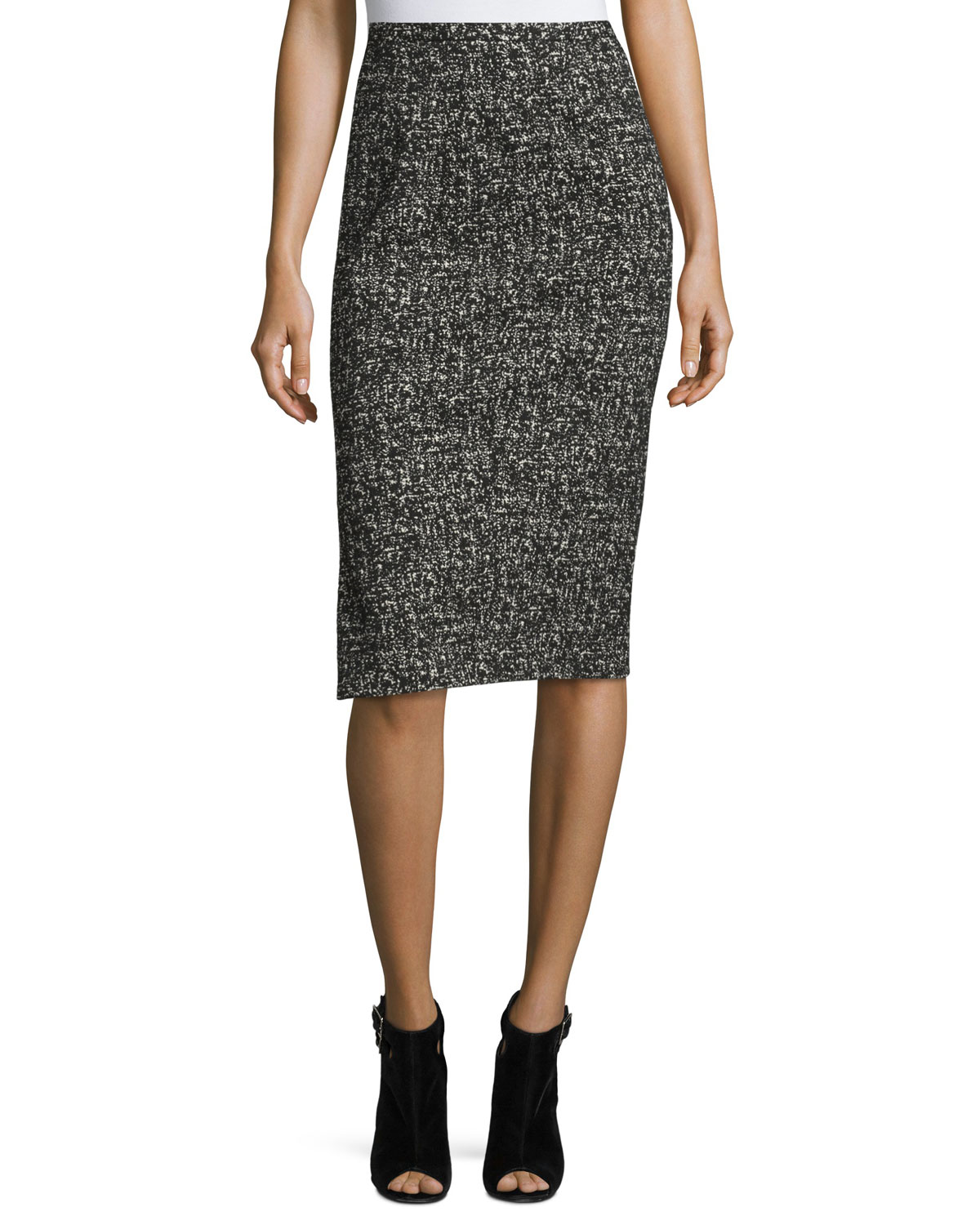 Tweed Pencil Skirt, Black/White