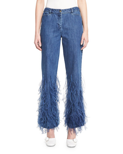 Ostrich-Feather Flared Ankle Jeans, Indigo