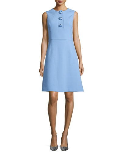 Sleeveless Button-Front A-Line Dress, Powder Blue