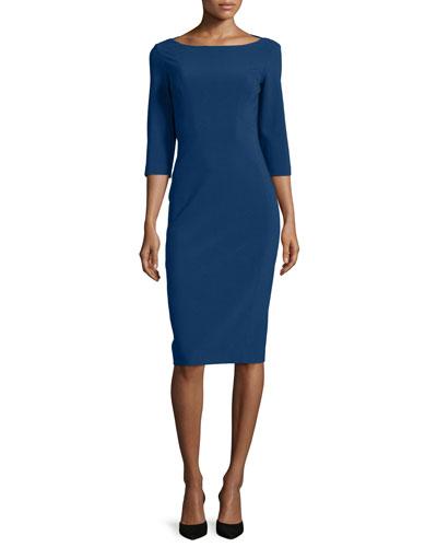 3/4-Sleeve Boat-Neck Sheath Dress, Sapphire