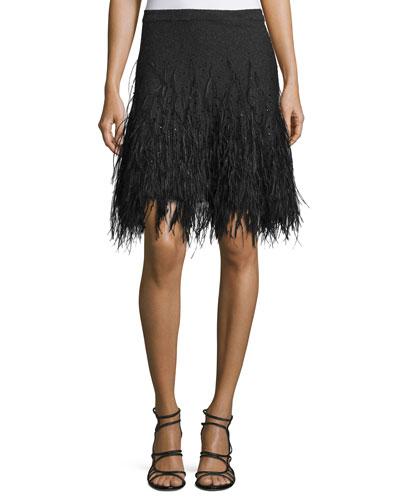 Feather-Embellished Cashmere Skirt, Charcoal Melange
