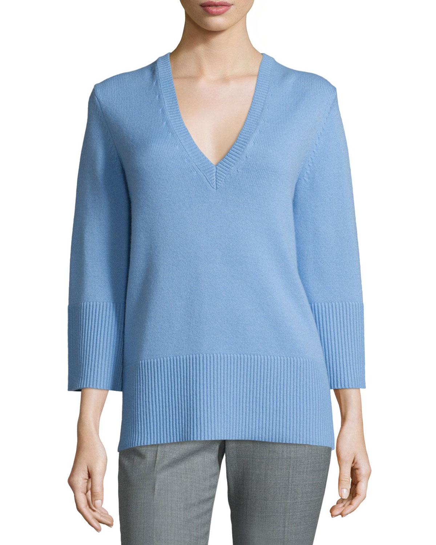 Cashmere V-Neck Tunic Sweater, Powder Blue