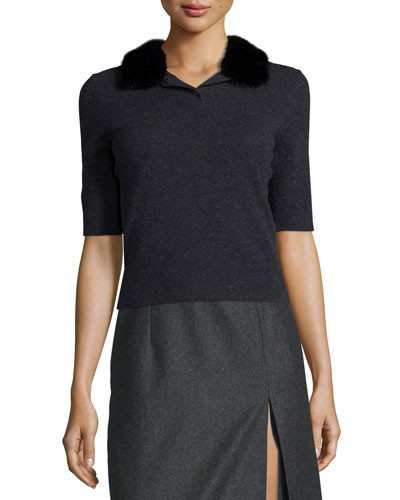 Mink-Collar Polo Sweater, Charcoal Melange
