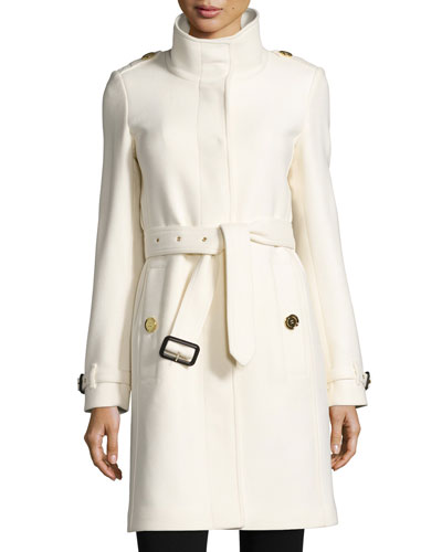Gibbsmoore Funnel-Neck Belted Long Coat