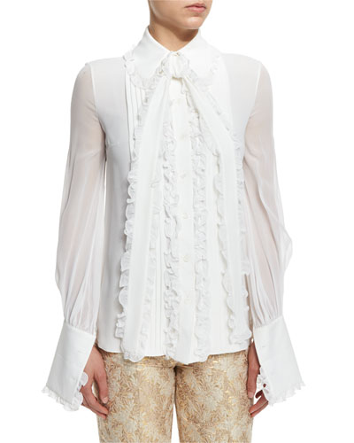 Pleated Bow-Neck Blouse, White