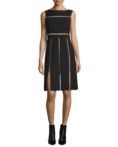 Sleeveless Cutout Dress w/Metallic Beads, Black