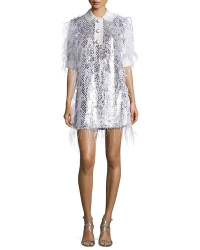Ostrich-Feather Half-Sleeve Shirtdress, White/Suntan