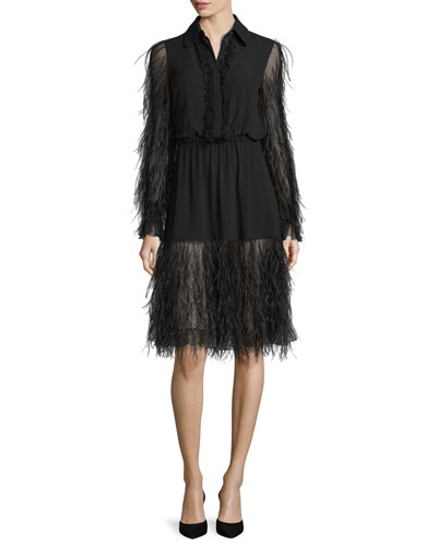 Tiered Ostrich-Feather Long-Sleeve Dress, Black