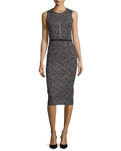 Sleeveless Tweed Zip-Front Sheath Dress, Black