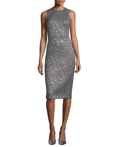 Shimmery Sleeveless Sheath Dress, Slate/Silver