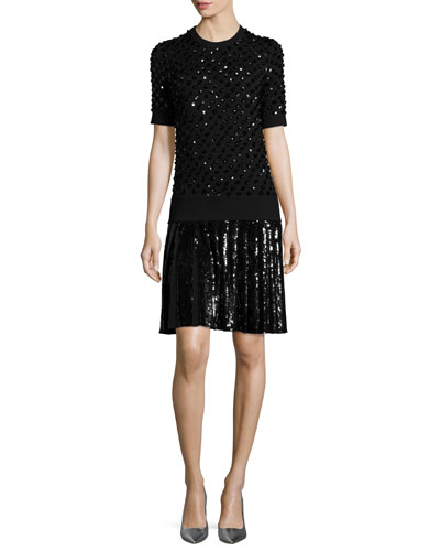 Sequined Pleated T-Shirt Dress, Black