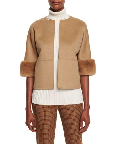 Mink-Cuff Open Wool Coat, Fawn