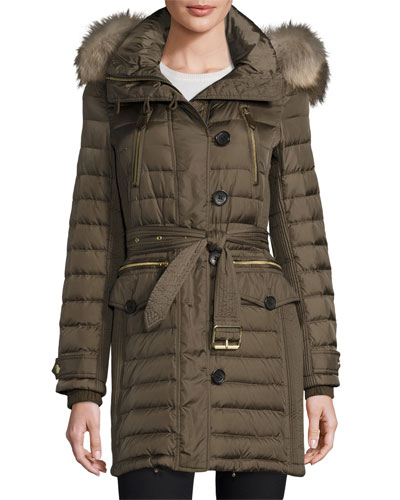 Pipleigh Hooded Puffer Jacket, Mink Gray