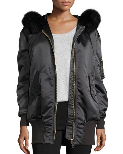 Avonshire Long Satin Bomber Jacket W/ Fur Hood