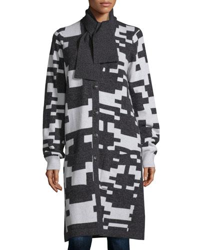 Cashmere Pixel-Print Long Cardigan, Charcoal/White