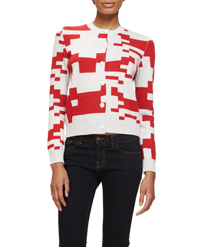 Cashmere Pixel-Print Short Cardigan, White/Red