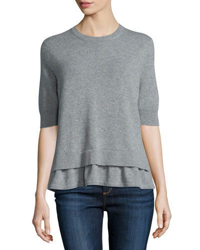 Layered-Hem Short-Sleeve Sweater, Heather Gray