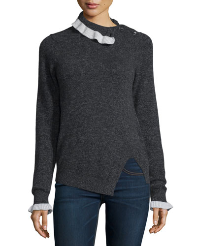 Button-Shoulder Turtleneck Sweater, Dark Gray/White