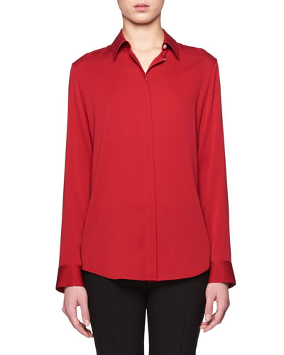 Petah Classic Georgette Blouse, Port