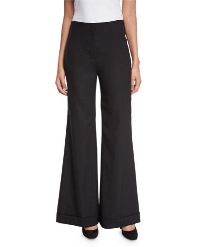 Winona Flared Cuffed Pants, Black