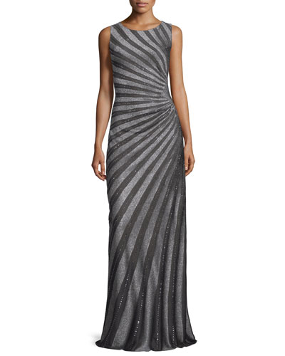 Sunburst Sequined Knit Gown, Gunmetal