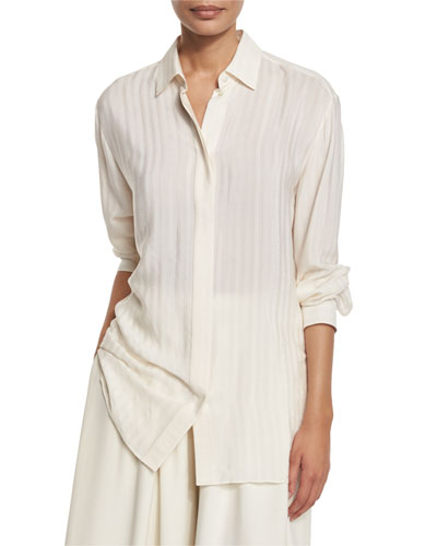 Big Sisea Striped Button-Front Blouse, Ivory