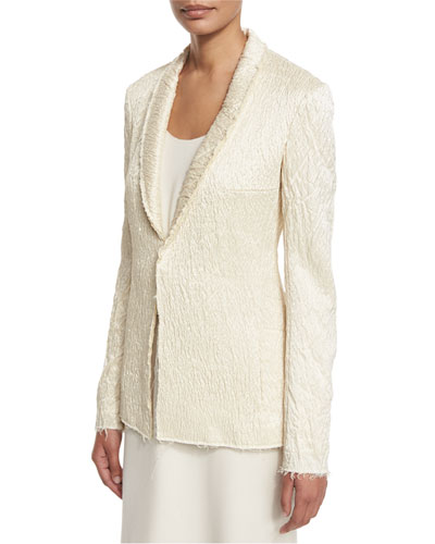 Shoner Crinkled Raw-Edge Jacket, White Rose