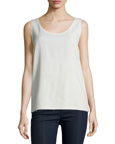 Teli Raw-Edge Wool Tank, Ivory