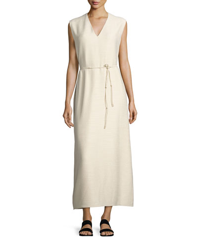 Langrova Sleeveless Belted Maxi Dress, White Rose
