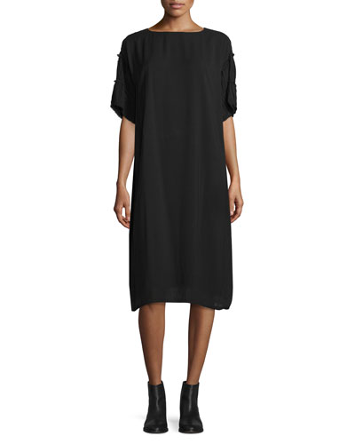 Laudre Ruffled Half-Sleeve Dress, Black