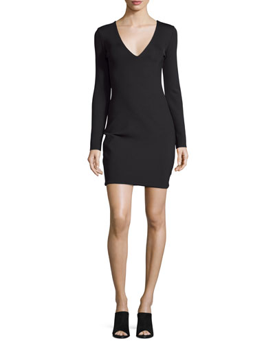 Myrna Long-Sleeve V-Neck Dress, Black