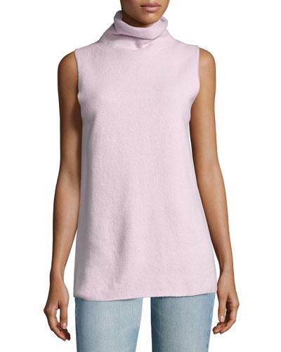 Leona Sleeveless Funnel-Neck Sweater, Black