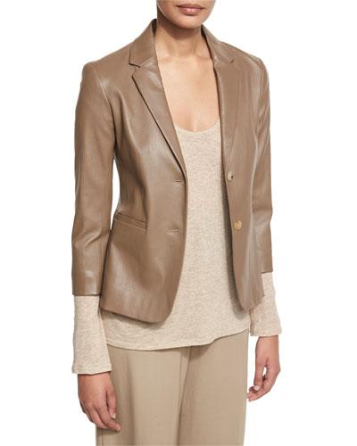 Nolbon Leather Two-Button Jacket, Khaki