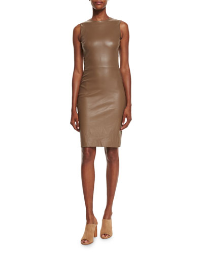 Cobi Sleeveless Plonge Dress, Khaki